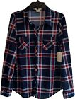 Womens New Blue Red White Plaid Top Button Down Checkered Shirt Size S M L XL