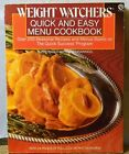 WEIGHT WATCHERS QUICK  EASY MENU COOKBOOK PAPERBACK 1987