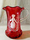 Large MARY GREGORY Cranberry Art Glass Pitcher White Hand Painted Jug Ewer