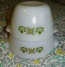 RARE Vintage Fire King Milk Glass w/ Green Flowers Nesting Mixing Bowls Set of 2