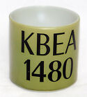 Vintage Federal Milk Glass Coffee Mug Cup Advertising Radio Station KBEA 1480
