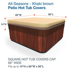 Hot Tub Cover Protector 86x86 Square Outdoor Spa Jacuzzi UV Weather Proof Khaki
