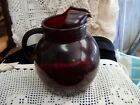 Large Vintage Anchor Hocking Red Ruby Glass Ball Pitcher