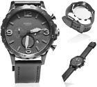 Fossil Watch Men Leather Black Nate Chronograph Dial Casual Wristwatch JR1354