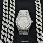 Ice'd Out Watch and Matching Bracelet fit for a King! Mens Hip Hop Set Silver
