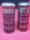 Antique Cobalt Blue And Silver Tone Salt And Pepper Shaker Pair