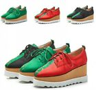 Printing Floral Color Stitching Lace Up Sneakers High Wedge Heel Womens Shoes