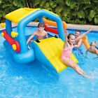Inflatable Island pool with Slide  Removable Side Noodles outdoor fun for kids