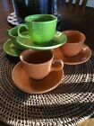 4 Fiestaware Coffee Tea Cup and Saucer Sets .   2  Lemongrass, 2 Orange