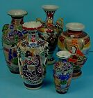 FIVE SMALL ANTIQUE JAPANESE MORIAGE SATSUMA EARTHENWARE FIGURAL VASES