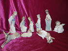 Lladro 8 Pc Nativity Mary Joseph Jesus Wise men animals + Angel STATUE FIGURINES