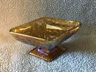 INDIANA CARNIVAL VINTAGE IRIDESCENT AMBER GLASS DIAMOND SHAPED FOOTED CANDY DISH
