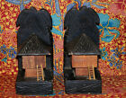 Vintage Pair of Carved Wood Bookends Polynesian Islander Native Hut Bungalow 8