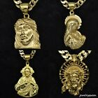 Mens 18K Gold Plated Cuban Jesus cross Virgin Mary pendant necklace chain Link