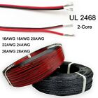 Ul 2468 Electronic Wire 16-28awg Pvc Parallel Flexible Flat Ribbon Cable 2-core