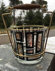 Glass Ice Bucket Black Gold Mid Century Modern