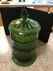 STACKING INDIANA PRINCESS BEAUTIFUL GREEN GLASS JAR UNIQUE COLOR HARD TO FIND