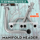 Set Fits Jeep Wrangler YJ 1991-1995 2.5L L4 Stainless Manifold w/ Downpipe CE