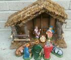 Vintage Italy PVC 8 pc Nativity Set  Wood Stable 14x10 Baby Jesus Mary Joseph