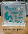 Mermaid Kisses  Starfish Wishes Decal sticker for DIY 8 Glass Block