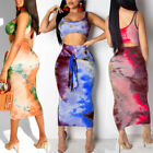 US Womens 2 Piece Bodycon Two Piece Crop Tops + Skirt Set Lace Up Dress Party