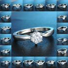 Silver Engagement Wedding Rings Zircon Moon Love Women Bridal Jewelry Party Gift