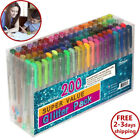 Glitter Gel Pens Refills 200 Set For Coloring Books Drawing Painting Writing New