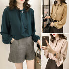 Women Loose Casual Chiffon Summer Solid Color Lantern Sleeve Stand Collar Blouse