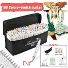 168 Color Markers Pen Alcohol Graphic Art Sketch Twin Tip Broad Pen + A5 Paper