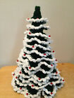 Crochet Christmas Tree Green with White Tips Red Decorations