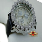 White Gold Finish Real Diamond Ice House Joe Rodeo Cluster Bezel Iced Men Watch