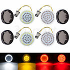 2 LED 1157 Front and Rear Turn Signal Lights Inserts +Smoke Lens Fit For Harley