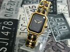 Beautiful CHANEL Premiere L Size Gold Plated Black Leather Ladies watch
