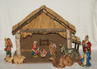 Vintage Nativity Set 20 Stable with Straw Roof PLUS 11 Figures