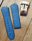 Watch Strap for Hublot Big Bang. 26mm Blue Leather & Silicone. Deployment Clasp.
