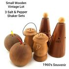 Vintage Collectible Lot of 3 Small Wooden Salt and Pepper Shakers Set Souvenirs