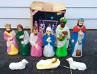 Beautiful 10 Piece Lot Vintage Empire Blow Mold Nativity CHRISTMAS LIGHT UP SET
