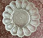Vintage Indiana Clear Glass Deviled  Egg Serving Platter Plate Hobnail