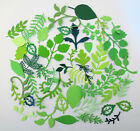 50 Assorted Green Foliage and Leaf Die Cut and Paper Punch Embellishments
