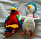 Lot of 2 Ty Beanie Plushes - Jabber Parrot & Peter Rabbit Jemmima Puddle Duck