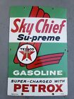 Texaco Sky Chief Super Charged Petrox Porcelain Gas Pump Sign 3-9-64