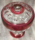 Vintage Kings Crown Thumbprint Ruby Cranberry Footed Compote Fruit Bowl Large