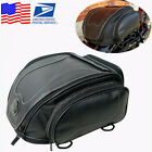1x Motorcycle PU Leather Rear Seat Bag Riding Touring Luggage Bag Helmet Bag USA