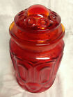 L E SMITH GLASS  MOON AND STAR AMBERINA RED~ ORANGE CANISTER COVERED STORAGE JAR