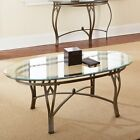 Steve Silver Madrid Oval Glass Top Coffee Table Clear
