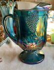 Vintage Glass Indiana Blue Carnival Ice Lip Pitcher HARVEST Grapes Huge Heavy