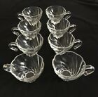 8  Hazel-Atlas Crystal Glass Punch Bowl Cups Colonial Swirl Shell Pattern VGUC