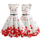 Womens Vintage Style Dress Floral Printed with Belt Swing Pinup Hepburn Dress