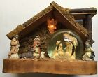 Vintage Wood Creche Manger Nativity Set Musical Globe Lighted Angel