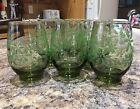 Libbey Daisy Roly Poly Floral Small Green Juice Glasses Set Of 6 Vintage